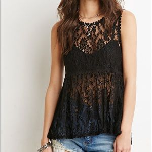 Forever 21 Black Lace Tunic blouse